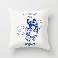 Frenchie Squat Throw Pillow