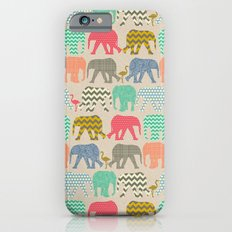 baby elephants and flamingos linen iPhone 6s Slim Case