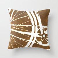 Brown Bike Throw Pillow