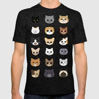 Happy Cats Mens Fitted Tee Tri-Black SMALL