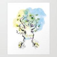 Happy Birthday With Bird… Art Print