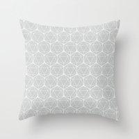 Icosahedron Soft Grey Throw Pillow