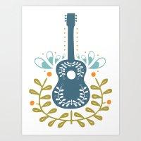 Fancy folk guitar Art Print