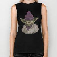 Christmas Yoda (fiolet) Biker Tank