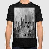 Live The City Life Mens Fitted Tee Tri-Black SMALL