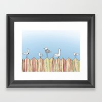 Fence Birdies Framed Art Print