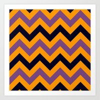 Halloween Chevron Art Print