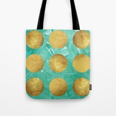 Gold Dots On Mint Tote Bag