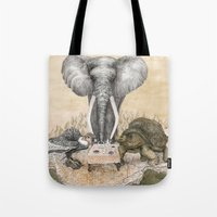 Tote Bag featuring Council of Animals  by Ruta13
