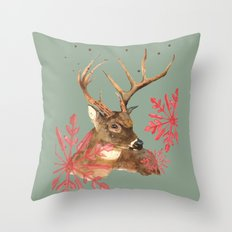 Forest Royalty, Stag, Deer, Christmas Stag, Woodland animals Throw Pillow