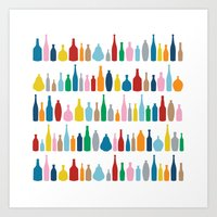 Bottles Multi Art Print