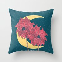 Midnight Flowers Throw Pillow
