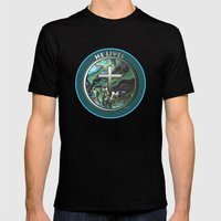 He Lives - Cross Mens Fitted Tee Black SMALL