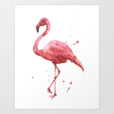 Flamingo, flamingo painting, tropical bird, pink ladies, pink flamingo Art Print