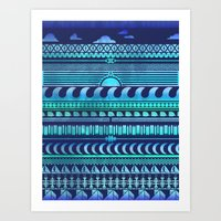 Aqua   Tribal Art Print