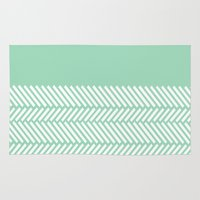 Herringbone Mint Boarder Rug