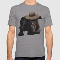 Rhino in Sun Hat  Mens Fitted Tee Athletic Grey SMALL