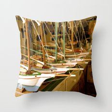 Handmade Boats Throw Pillow