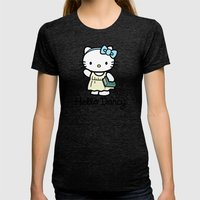 Hello Darcy Womens Fitted Tee Tri-Black SMALL