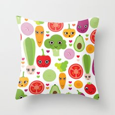 Veggie friends and smiley food Throw Pillow