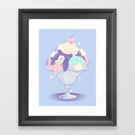 Framed Art Print featuring Sweet Tooth Sundae by Miski