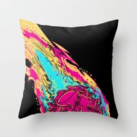 dinosaur asteroid Throw Pillow