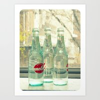 rainy day ~ vintage soda bottles Art Print