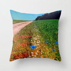 Summer flowers along the trail Throw Pillow