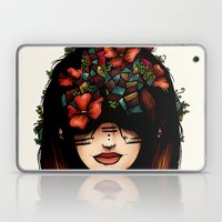 The girl who was thinking about geometry & red flowers Laptop & iPad Skin