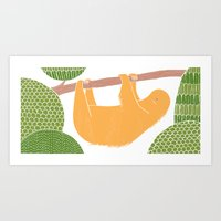 Sleepy Happy Sloth Art Print
