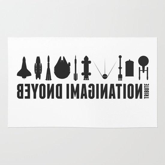 Beyond imagination: Vostok 1 postage stamp  Area & Throw Rug