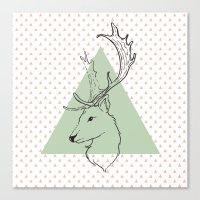 Hipster deer mint green Canvas Print