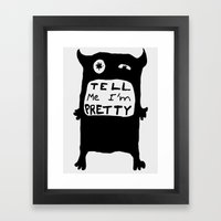 Pretty monster black and white drawing with text Framed Art Print