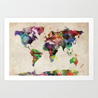 watercolor Art Prints featuring World Map Urban Watercolor by artPause