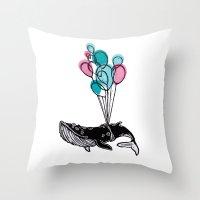 Balloons Whale II Throw Pillow