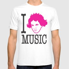 I __ Music SMALL White Mens Fitted Tee
