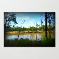 Reservoir and dog Canvas Print