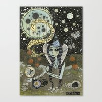 Moth Girl Singing To The… Canvas Print