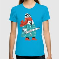 Creepy Scarf Guy Womens Fitted Tee Teal SMALL