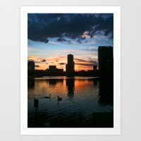 Lake Eola Sunset With Sw… Art Print