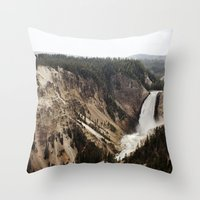 YELLOWSTONE WATERFALLSS Throw Pillow