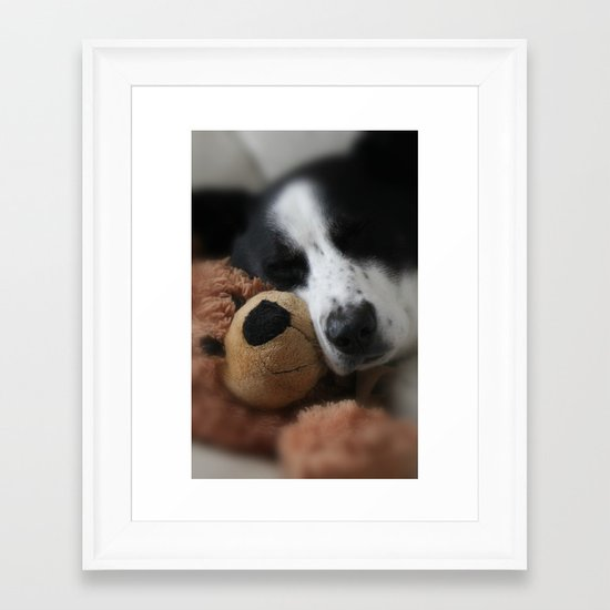 A Dog and his Bear Framed Art Print