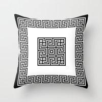 Greek Key black Throw Pillow