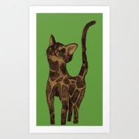 Giraffe Cat. Art Print