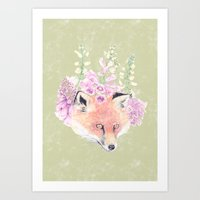 Fox & Foxgloves  Art Print