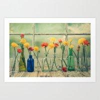 Ranunculus, Bottles And … Art Print