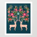 Deer with Flowers by Andrea Lauren  Art Print