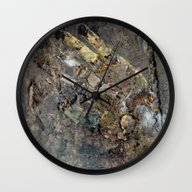 Wall Clock featuring Robotic Hand by OrangeOliveNYC
