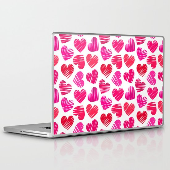 Red and pink sketchy hearts Laptop & iPad Skin