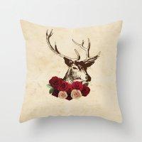 Stag, Deer, Flowers, Vin… Throw Pillow